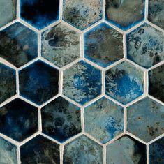 "ANN SACKS Fire and Earth 4"" x 4"" hexagon ceramic field in 22-n-l blue black silver luster"