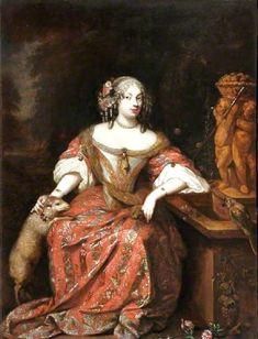 1681 attributed to Caspar Netscher (Dutch artist, 1639-1684) Lady with a Lamb