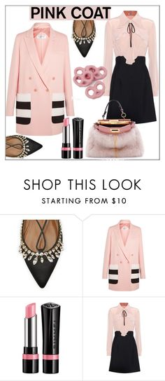 """Pretty Pink Coat"" by pat912 ❤ liked on Polyvore featuring Aquazzura, MaxMara, Rimmel, Miu Miu, Fendi, polyvoreeditorial and pinkcoats"