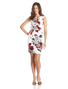 Floral Printed Pleated Side Wrap Dress by Adrianna Papell