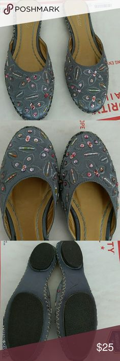 48defcd9b Matisse grey flat shoes with sequins and beads Matisse brand grey slip on  shoes with leaf