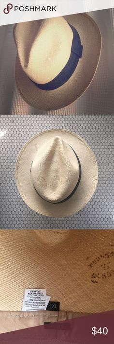 J. Crew men's Panama Hat with chambray band L/XL Like new, hardly worn, classic Panama hat! Made with natural toquilla straw and cotton trim. This is a men's large, I got it for myself though because I have a big head (23 inches) and I prefer the larger proportions of this classic menswear style to the more stylized women's versions. End of the day though, I'm just not really a hat person, so hoping to find a hat loving home for the gem!! (~24 inch circumference interior) J. Crew Accessories…