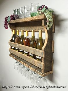 WINE RACK SHELF, This very rustic wine rack with shelf is handmade from one inch thick pine wood from the sawmill reclaimed wood pile, NOT PALLET WOOD! This wall mounted wine rack will hold up t Wine Rack Shelf, Wine Shelves, Wine Rack Wall, Wall Mounted Wine Racks, Hanging Wine Rack, Farmhouse Wine Racks, Rustic Wine Racks, Rustic Farmhouse, Rustic Wood