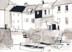 53 Super Ideas For House Facade Sketch Landscape Sketch, Landscape Drawings, Landscape Art, Watercolor Landscape, Landscapes, House Sketch, House Drawing, Illustration Sketches, Art Sketches