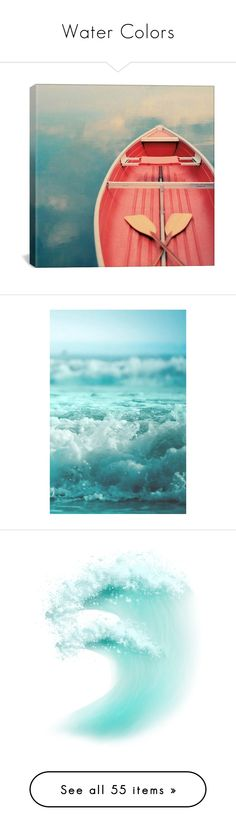 """""""Water Colors"""" by trishica ❤ liked on Polyvore featuring home, home decor, wall art, backgrounds, art, photos, pictures, red, red canvas wall art and canvas home decor"""