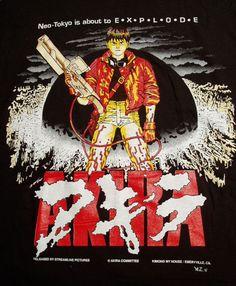 AKIRA KANEDA BLACK  T-SHIRT SIZE MEDIUM  ANIME JAPAN NEO TOKYO VINTAGE 1992 #FRUITOFTHELOOM