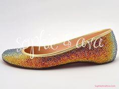 Christian Louboutin Ballerina flat in Volcano  Swarovski crystal shoes hand embellished by Sophie & Ava (SophieAndAva.com)