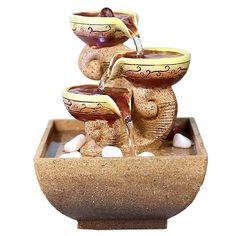 D 110V-220V Zen Water Fountain Ceramic Rockery Statues Crafts Home Humidifier Feng Shui Decoration Flowerpot Bonsai Fountain Gift