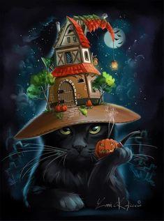 Black Cat by Kajenna on DeviantArt Halloween Pictures, Halloween Cat, Happy Halloween, Illustration, Halloween Wallpaper, Fantasy, Counted Cross Stitch Patterns, Cross Stitches, Cat Art