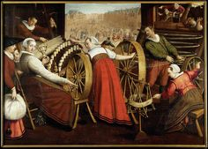 Weaving and Spinning: Isaac van Swanenburg, The artist was commissioned between 1594 and 1612 to make a series of paintings showing the several stages of the textile industry.