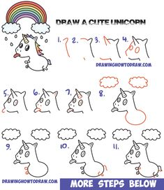How to Draw a Cute Kawaii Unicorn with Tongue Out Under Rainbow Easy Step by Step Drawing Tutorial for Kids and Beginners