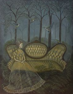 """View of the Hummingbirds Oil on panel, 2011 14"""" x 18"""" Same couch as Torri and Jon's chair!"""