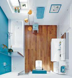 Bad mit Badewanne CAYONO, Duschfläche SUPERPLAN PLUS und Waschtisch