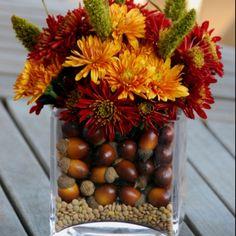 Fall Wedding Centerpiece - Acorns.
