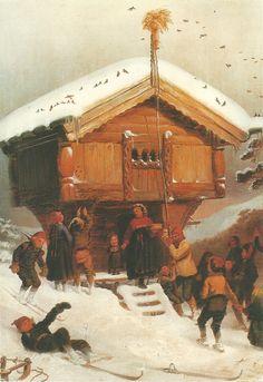 "detail from ""Juleskikk"" Landscape Art, Landscape Paintings, Nordic Christmas, Christmas Stocking, North Europe, Edvard Munch, Nordic Ware, Romanticism, Yule"