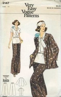 An unused ca. 1970's Vogue pattern 9147.   Misses' Jacket, Pants and Overblouse - Loose-fitting, unlined flared jacket has cardigan V-shaped neckline, slightly belted raglan sleeves, patch pockets and top-stitching.  Straight-legged pants have elasticized waistline.  Loose-fitting overblouse has V-neckline with turnover collar extending to tie ends, short raglan sleeves and back zipper closing.  Purchased belt holds in slight fullness at waistline.