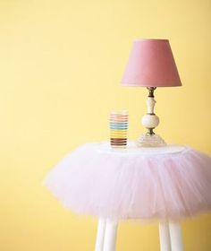New uses for old things - tutu as nightstand decor-this would look sweet in a little girl's room. Tutu Table, Kitchen Stools, Room Kitchen, Kitchen Interior, New Uses, Little Girl Rooms, My New Room, Girls Bedroom, Bedroom Bed