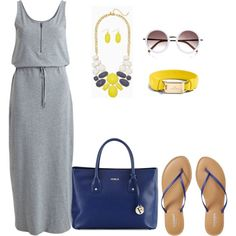 curvy/plus simple easy maxi look by kristie-payne on Polyvore featuring VILA, Old Navy, Furla, Coach and River Island