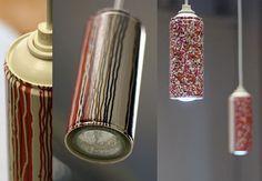 LÁMPARAS HECHAS CON AEROSOLES  El reciclaje de los botes de aerosol es muy costoso y requiere de plantas de reciclaje sofisticadas y costosas.  El diseño es de Luigi Semeraro