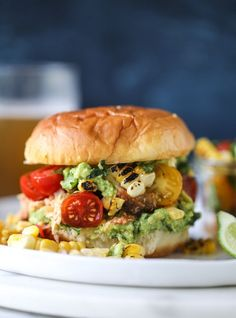 pulled chicken guacamole sliders with grilled corn pico I howsweeteats.com #pulledchicken #guacamole #sliders #dinner #howsweeteats
