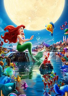 Princess ariel with her frinds Ariel Disney, Mermaid Disney, Disney Little Mermaids, Cute Disney, Disney Art, Disney Pixar, Ariel The Little Mermaid, Disney Princesses, Disney Princess Pictures