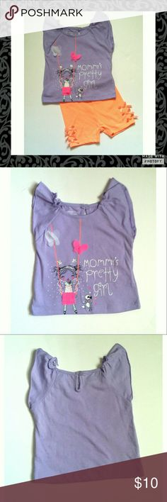 """🍒CLOSET SALE🍒Mommy's Pretty Girl Outfit 🌟15% off 2  🌟20% off 4 🌟Resonable Offers Welcome   Light purple short sleeve top says """"mommy's pretty girl"""". Bright orange biker shorts with cute little bows on the sides. New without tags. Both are size 12 months. Wonder kids brand Wonder kids  Matching Sets"""