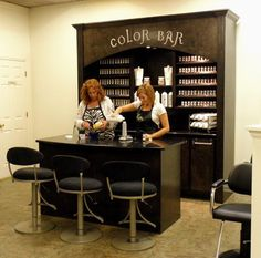 I like the idea, maybe with a bigger bar counter. Color Bar- such a cute salon i...