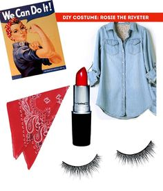 rosie the riveter halloween costume / The Sweet Escape, work costume! Allowed to dress up this year Rosie The Riveter Halloween Costume, Cute Costumes, Diy Halloween Costumes, Costumes For Women, Costume Ideas, Halloween Kostüm, Holidays Halloween, Halloween Makeup, Women Halloween