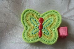 Boutique Embroidered Felt  Green Butterfly Hair by pachwilliamson, $3.00