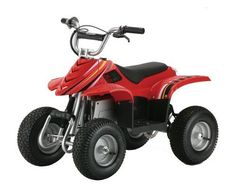 Razor Dirt Quad Electric Four-Wheeled Off-Road Vehicle (Red) by Razor. $459.99. Recommended for ages eight and older; supports up to 120 pounds; twist-grip throttle acceleration control. Variable-speed, chain-driven electric motor is quiet and powerful. Terrain-tracing droop-travel rear suspension delivers smooth ride. Miniature electric off-road dirt quad with authentic quad geometry. High-torque gear ratio provides excellent climbing opportunities. Amazon.com                Kic...
