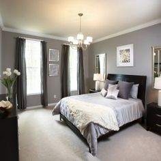 Bedroom Inspiration. Cool Grey Wall Wide Curtain For Windows And White Bedding Ideas Bed Sheet As Decorate In Master Bedroom Furnishing Designs: Awesome Bedroom Shade Chandelier Over White Bedding Ideas With Black Wooden Base Bed Frames As Well As Gray Wall Painted In Contemporary Master Bedroom Designs