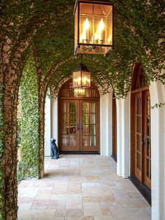 Love the arches covered with creeping fig! Thompson Custom Homes via HGTV.com