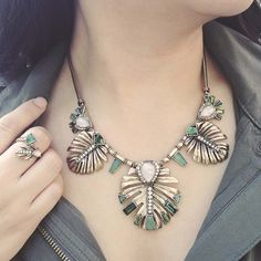 Beautiful Green / Emerald Colored Leaf Jewelry Statement necklace | Shop new Summer styles on my Chloe + Isabel boutique! Rainforest inspired