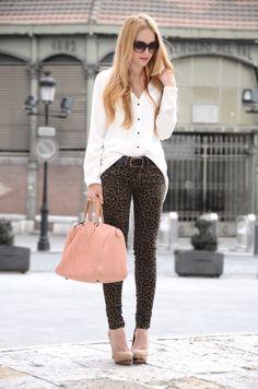 leopard jeans + blush shoes and bag
