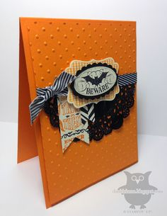 Friday, October 18, 2013  Dani's Thoughtful Corner: Beware! | Card Stock:  Pumpkin Pie, Very Vanilla, Basic Black DSP:  Witches' Brew Stamps:  Halloween Bash Inks:  Versamark, Black Staz-On, Pumpkin Pie Tools/other supplies:  Stampin' Trimmer, Paper Snips, Decorative Label Punch, Large Oval Punch, Scalloped Oval Punch, Basic Black Chevron Ribbon, Tea Lace Paper Doilies, Stampin' Dimensionals, SNAIL, Black Embossing Powder, Heat Tool, Big Shot, Perfect Polka Dots Embossing Folder