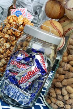 Whole peanuts, cracker jacks, and mini Babe Ruths - decor and snack for baseball themed birthday party