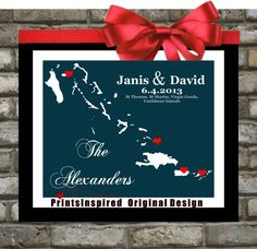 Destination Wedding Gift : Custom Location Map - 8x10 / Bahamas, Carribean, USVI - Any Location Available - Engagement Gift. Personalized Art in Any Color. $18.99