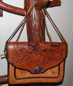 Tooled Leather Western 10 Purse-Worn Leather by ShellyisVintage