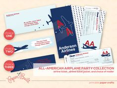 Printable Airplane Party Airline Ticket by PaperBuiltShop on Etsy, $24.00