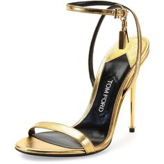 Tom Ford Metallic Ankle-Lock Sandal ($1,190) ❤ liked on Polyvore featuring shoes, sandals, heels, tom ford, metallic, gold, shoes sandals classic, heels stilettos, stiletto heel sandals and leather ankle strap sandals