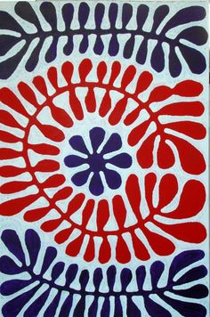 Blue and Red Australian Aboriginal Painting, Plant Pattern Design For Sale at Aboriginal Painting, Aboriginal Artists, Indigenous Australian Art, Indigenous Art, Textiles, Guache, Art For Art Sake, Native Art, Art Plastique