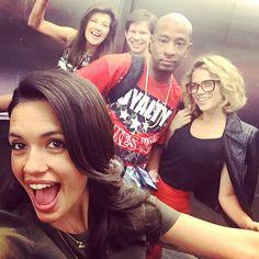 Elevator selfie! #OTHReunion in Montreal. Torrey DeVitto, Joy Lenz, Antwon Tanner, Lee Norris, and Daphne Zuniga