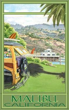 Malibu Beach, California travel poster woodie, Los Angeles USA (not vintage) Surf Retro, Vintage Surf, Vintage California, California Dreamin', Vintage Signs, Malibu Beaches, Malibu Pier, Tourism Poster, Surf Art