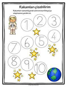 Okul öncesi için uzay konulur 1'den 10'a kadar rakamları yazma çalışması. Free printables 1 to 10 writing worksheets on space theme math worksheet page download. Kids Math Worksheets, 1st Grade Worksheets, Writing Worksheets, Activity Games, Math Games, Preschool Activities, Space Theme, Math For Kids, Learning Tools