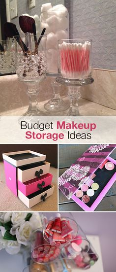 Ways to Give Your Bathroom a Makeover Keep your makeup products organized in place with some of these great budget makeup storage ideas.Keep your makeup products organized in place with some of these great budget makeup storage ideas. Diy Makeup Storage, Make Up Storage, Makeup Organization, Diy Storage, Storage Ideas, Storage Organizers, Bathroom Organization, Bathroom Storage, Studio Organization