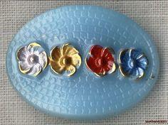 Czech Glass Hand Painted Flowers on Blue Cobblestone Button-27mm