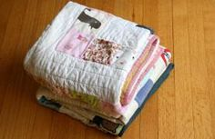 repurpose stained baby clothes into blankets