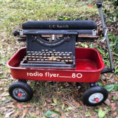 Two of my favorite items. 1980 Tiny Radio Flyer Metal Wagon. And a super old LC Smith & Corona Typewriters Inc typewriter.  http://ift.tt/2BpS6XS