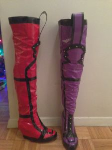 duct tape boots my mother is a genius! could do this for a Halloween costume also