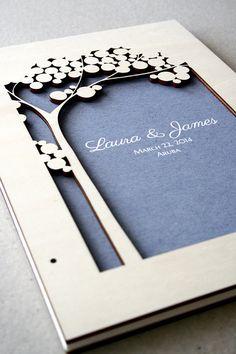 Holzschnitt Hochzeit Gäste Buch Album Baum des Lebens mit Liebe Vögel, umfasst moderne abstrakte minimalistischen Jahrestag Gästebuch Album ...